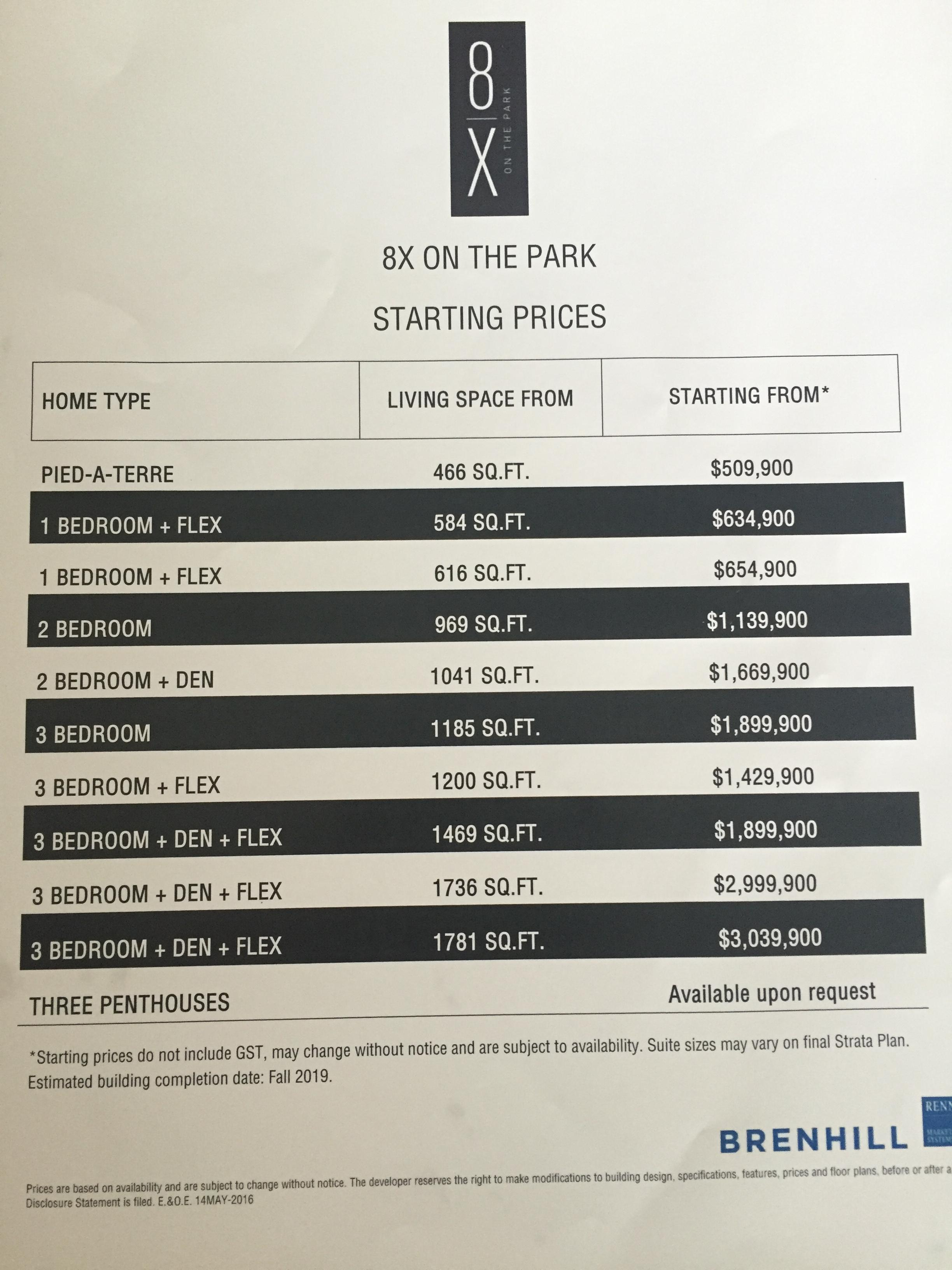 8x on the park prices